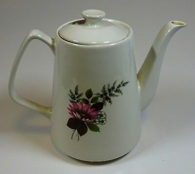 Lord Nelson Pottery tea pot. Vintage 1973 Pink floral design