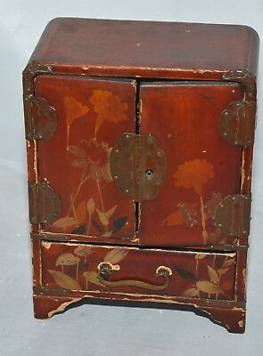 Antique Victorian Painted wooden nick nack, jewellery box with four drawers