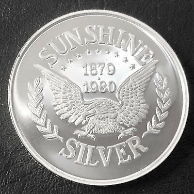 1980 Sunshine Silver 1 Troy oz .999 Fine Silver Proof Round K5U3