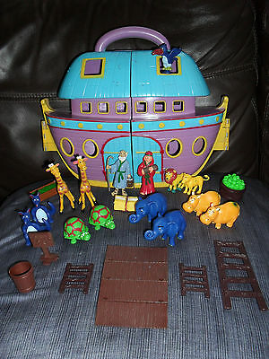 Vintage Noahs Ark inc Mr & Mrs Noah 12 x Animals 1 x Bird - Epsom KT19