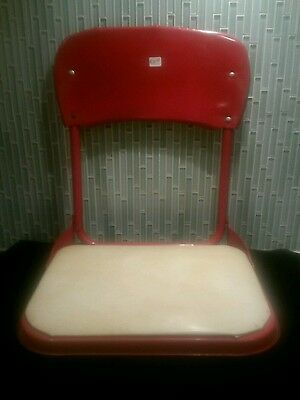 Vintage 1940s/1960s Metal Folding Stadium Seat - Red, with Vinyl Seat Cover