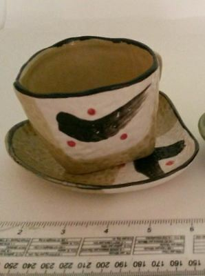 Unusual Studio Art Pottery Coffee Cup/Saucer
