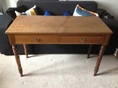 Antique Oak Arts and Crafts side table with two drawers brass handles
