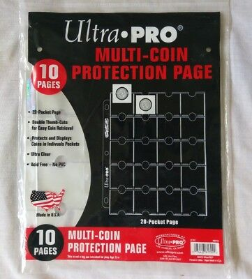 Ultra Pro 20-Pocket Holder Clear Page for Coins and Tokens 10 ct