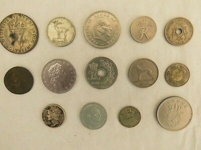 Job lot of old silver coloured coins from many countries