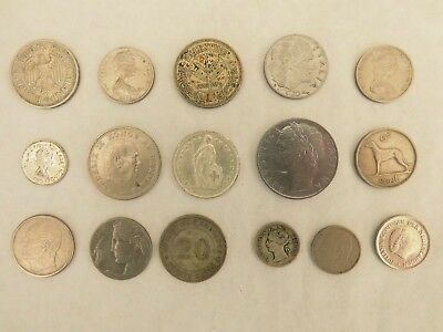 Job lot of old siver coloured foreign coins from various countries