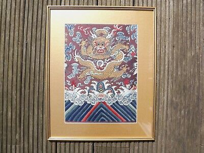 Framed Chinese Five Claw Dragon Embroidery Robe Fragment.