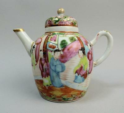 ANTIQUE CHINESE CANTON FAMILLE ROSE PORCELAIN TEAPOT 19th CENTURY