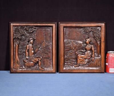 *Pair of French Antique Carved Breton Panels in Chestnut Wood with Deep Carvings