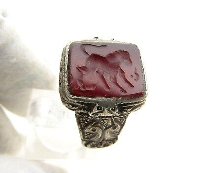 Post Medieval Silver Ring With Carved Intaglio Carnelian Stone Script - D132