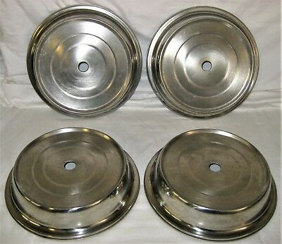 """4 Vintage 10.5"""" Stainless Restaurant catering food plate covers"""