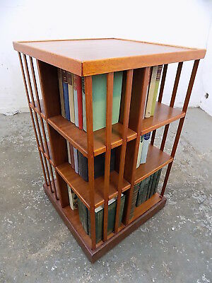 reproduction,large,beech,tall,revolving bookcase,freestanding,bookcase,books