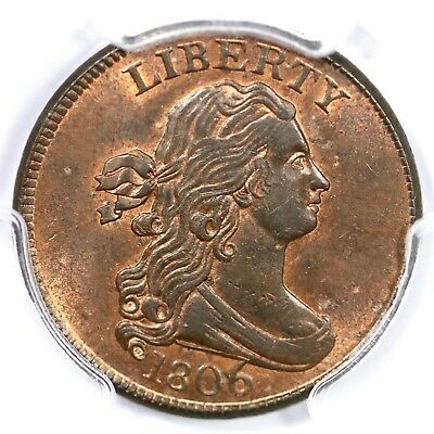 1806 C-4 PCGS MS 63 RB Large 6, Stems Draped Bust Half Cent Coin 1/2c