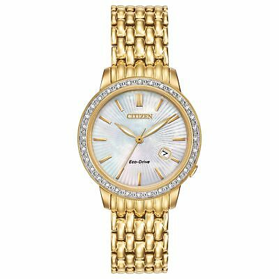 NEW* Citizen Eco-Drive Women's EW2282-52D Diamonds Bezel Yellow Gold 29mm Watch