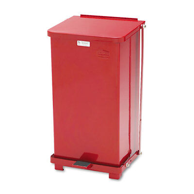Defenders Biohazard Step Can, Square, Steel, 12gal, Red