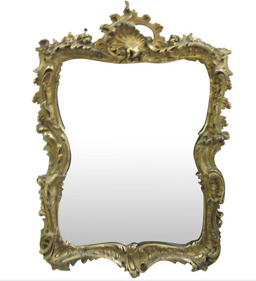 Antique Louis XV Style French Rococo Gold Gilt Medium Wall Mirror Shells Carved