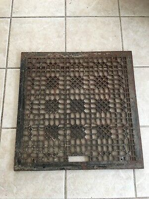 Antique cast iron heater grate-old grill vent 26 3/8 x 26 3/8