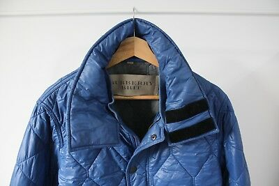 Authentic BURBERRY BRIT Men's Quilted Blue Jacket Size Large