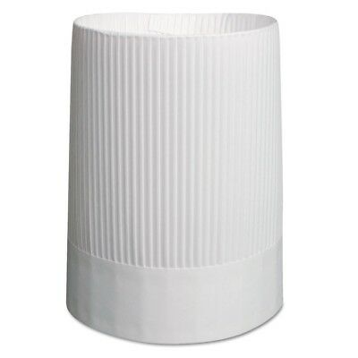 Stirling Fluted Chef's Hats, Paper, White, Adjustable, 10'' Tall, 12/Carton