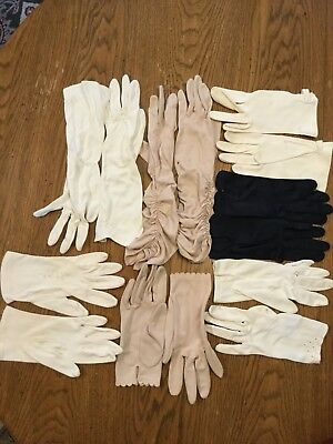 Lot of 7 Vintage Ladies Cloth Gloves