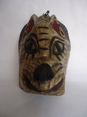 Hand Carved Wood Feline/Cat/Lion Folk Art Mexican Mask Wall Hanging Decor