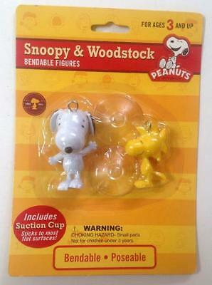 Snoopy & Woodstock Bendable Poseable Figures w/ Suction Cups NJ Croce New