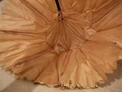 Antique Victorian Silk Child Doll Parasol Umbrella Leather Case Agnes V Garner