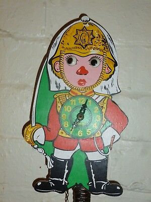 Vintage German Weight Driven Toy Soldier Rolling Eyes Novelty Cuckoo Wall Clock