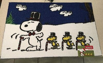 "Snoopy Woodstock Candy Cane Top Hat Dancing Christmas Peanuts Rug 20""X32"""