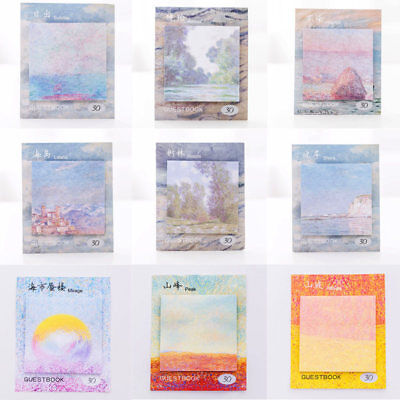 Creative Landscape Painting Sticky Notes Memo Pad Planner Stickers Stationery