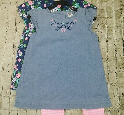 CARTERS Size 3T Outfit Girls Floral Tunic Tops Pants Pink Checked NWT
