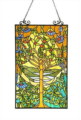 "PAIR Tree of Life Tiffany Style Stained Glass Window Panel 20"" Wide x 32"" Tall"