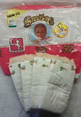 Vintage Smiles Plastic Backed Diapers for Girls - Pink - Muppet Babies - Size L