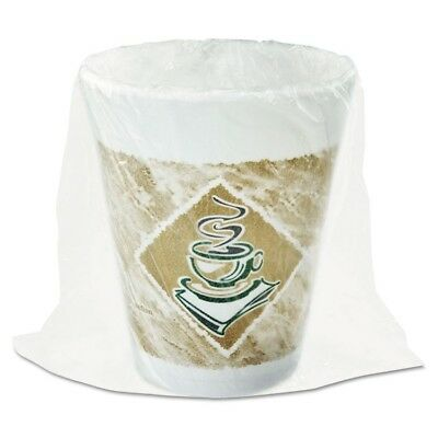 Dart Foam Hot/Cold Cups, 8 oz., Caf  G Design, White/Brown with Green Accents