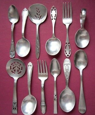 12 Antique Vintage Silverplate Flatware Small Items Baby Spoons Forks Demitasse