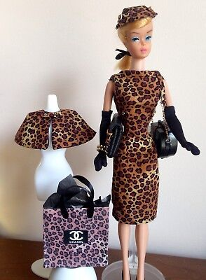 Vintage Barbie Silkstone Fashion Royalty OOAK Leopard Dress Jacket Purse Hat etc