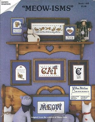 Vintage Meow-isms Kitty Cat Cross Stitch Pattern Designs Chart Book