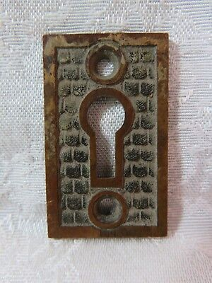 Vtg Antique Brass Decorative Key Hole Plate- Escutcheon- Embossed Stamped Design