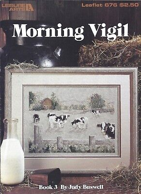 Vintage Cows in Pasture Farm Countryside Cross Stitch Pattern Designs Chart Book