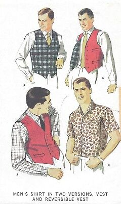 Vintage 1960's Men's Button Front Sport Shirt Vest Sewing Pattern UNCUT Size 40