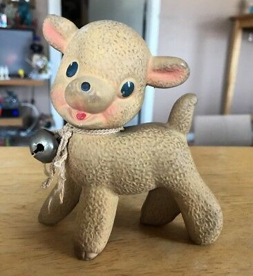 Vintage 1950s Rubber Lamb Squeak toy Rempel Toys Akron Ohio Squeaker Sheep Baby