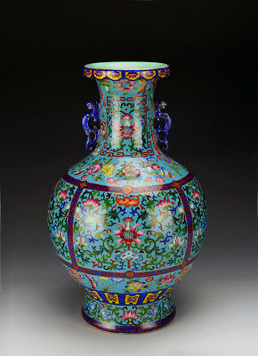 Rare Superb Chinese Qing Turquoise Glazed Ground Enamel Floral Porcelain Vase