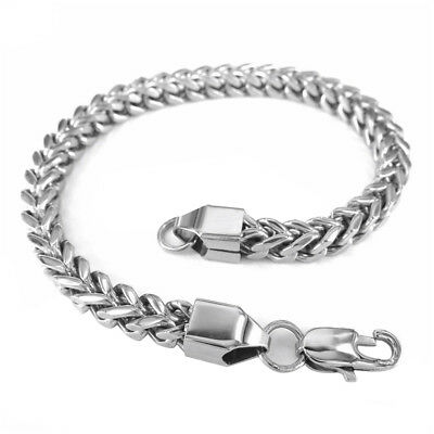 Heavy Stainless Steel Curb Wheat Chain Link Bracelet Womens Girls Bangle Silver