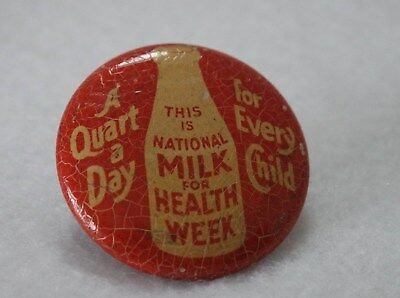 Vintage National Milk For Health Week Pin Button Food Bureau