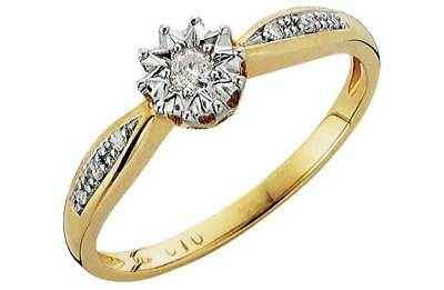 9ct Gold Illusion Set 0.10ct Tw Diamond  Solitaire Pave Engagement Ring