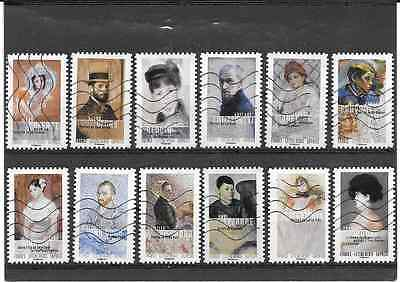 France 2016. The Art Of The Portrait.serie Full Of 12 Stamps Autoadhe Canceled