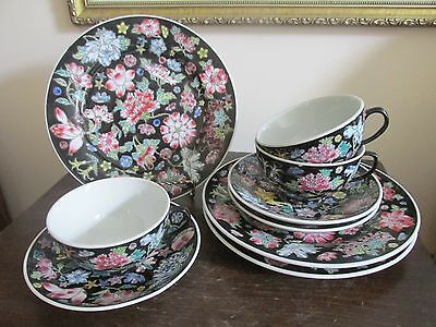 Chinese Export Porcelain Famille Rose Noire Black Trio Cup Saucer Plate Set Of 3