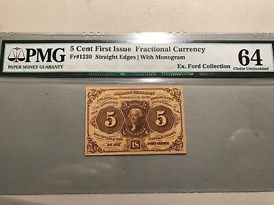 5 CENTS FRACTIONAL FR-1230 CERTIFIED PMG 64 Ex Boyd, Ex Ford Collections
