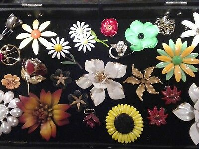 Vintage Metal Enamel Flower Power lot of Brooches Pins Earrings Collectable+