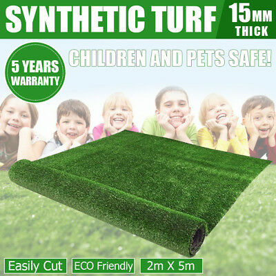 10 SQM Artificial Synthetic Grass Turf Plastic Green Fake Plant Lawn Floor 15mm